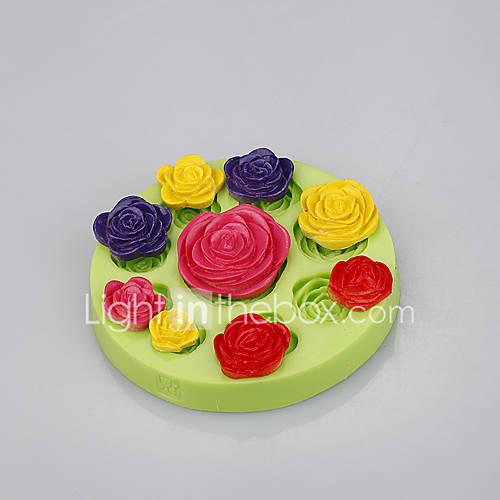 Food grade silicone rose mold flower fondant cake molds for soap chocolate Color Random