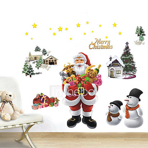 DIY Merry Christmas Wall Stickers Decoration Santa Claus Wall Stickers Removable Vinyl Wall Decals Xmas