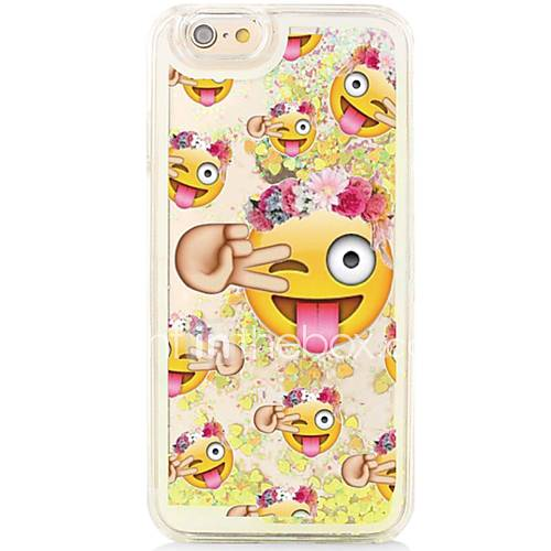 Cartoon Smiley Back Flowing Quicksand Liquid/Printing Pattern PC Hard Case Cover For iPhone 6s Plus/6 Plus/6s/6/SE/5s/5