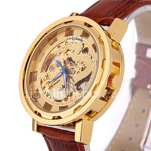 Men's Fashion Genuine Leather Hollow Engraving China Dragon Skeleton Automatic Mechanical Watch