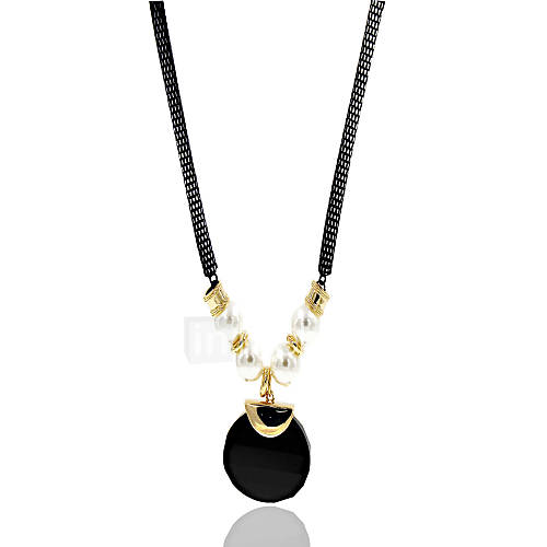 Necklace Rhinestone Pendant Necklaces Jewelry Wedding / Party / Daily / Casual Imitation Pearl Alloy Black 1pc Gift