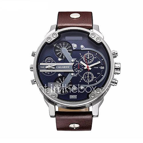 Hombre Reloj Militar / Reloj de Moda / Reloj de Pulsera Cuarzo Calendario / Reloj Casual Piel Banda Negro / Marrón Marca Descuento en Miniinthebox