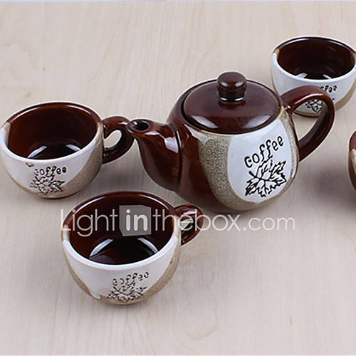 Classic Coffee Mugs Ceramic Tea Cups Set (1 Pot 4 Cups with Cup Holder Random Colors)