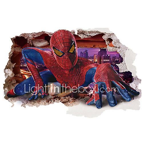 3D Spider-Man Broken Wall Design Superhero 3D Wall Stickers Removable Children's Bedroom Living Room Wall Decals