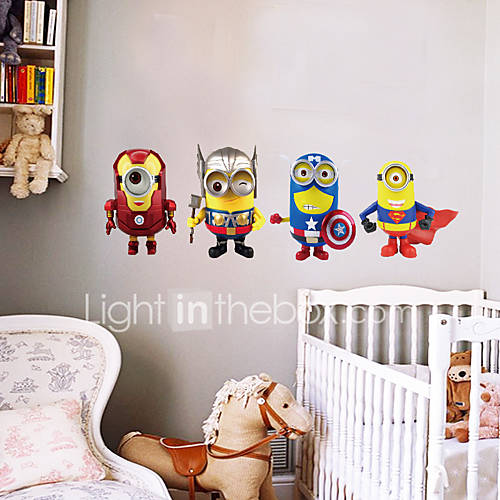 4 Minions Cosplay Avengers Superhero Wall Stickers Fashion DIY Despicable Me Living Room Bedroom Wall Decals