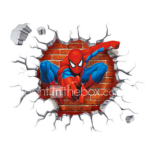 3D Cartoon Spider-Man Super Hero 3D Wall Stickers Removable Children's Bedroom Wall Decals