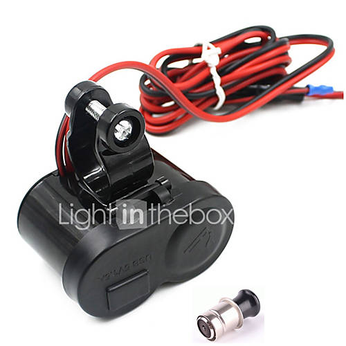 Motorcycle Waterproof GPS 1.5A USB Port Power Charger Cigarette Lighter Socket
