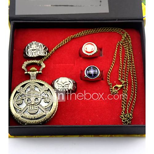 Inspired by One Piece Monkey D. Luffy Anime Cosplay Accessories Clock/Watch / Ring Golden Alloy