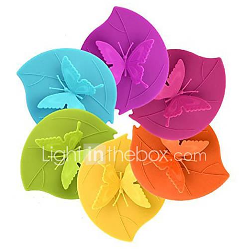 Ryback Butterfly on Leaf Silicone Cup Lid Anti-dust Leak Proof Designer Mug Cover Random Color