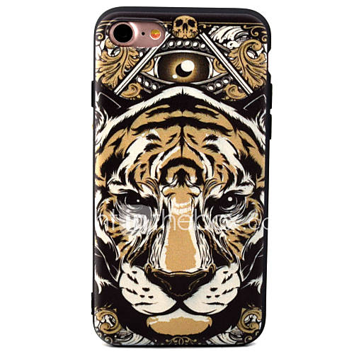 For Apple iPhone 7 7Plus 6S 6Plus Case Cover Tiger Head Pattern TPU Material Painted Relief Phone Case