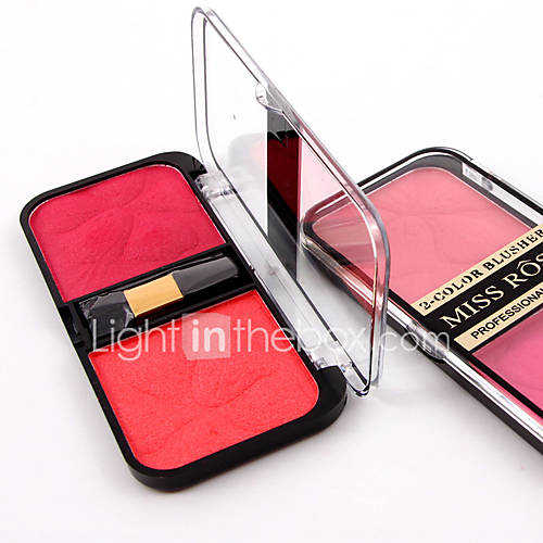2 Color In 1 Natural Soft Pressed Powder Natural Face Blush Powder Blusher Palette Shimmer Makeup with Brush 3D Pure Mineral