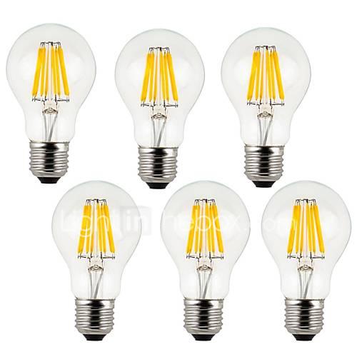 8W E26/E27 Bombillas de Filamento LED A60(A19) 8 COB 800 lm Blanco Cálido / Blanco Fresco Decorativa AC 100-240 V 6 piezas