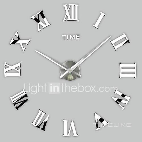 1PC 2016 New Home Decor Large Roman Mirror Fashion Modern Quartz Clocks Living Room Diy Wall Clock Watch