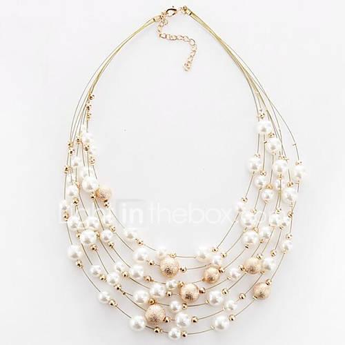 Women's Round Shape Circular Multi Layer Fashion European Choker Necklace Imitation Pearl Pearl Imitation Pearl Alloy Choker Necklace