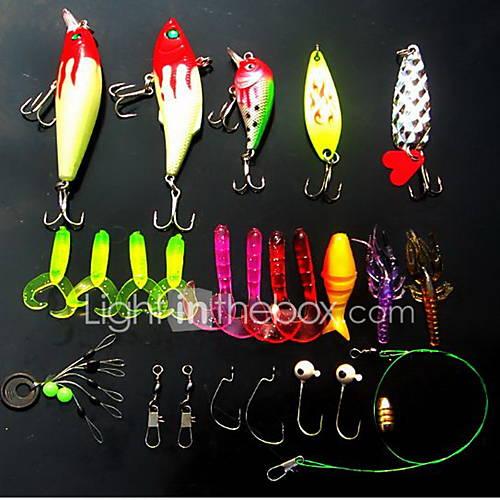 16 pcs Hard Bait Spinner Baits Minnow Crank Vibration/VIB Lure kits Fishing Lures Grub Lure Packs Vibration/VIB Crank Minnow Spoons Hard