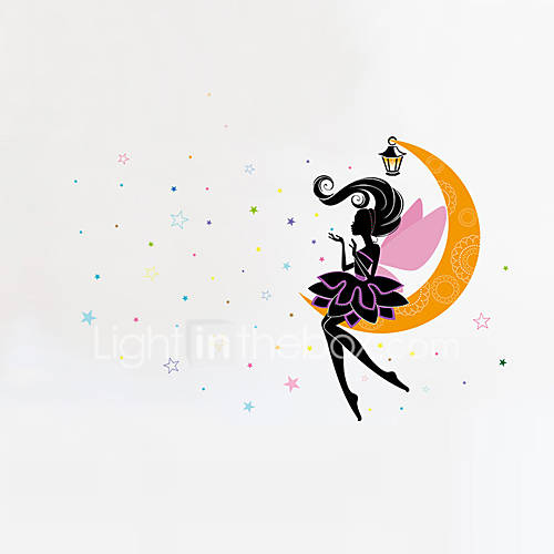 Wall Stickers Wall Decals Style Elves on The Moon PVC Wall Stickers