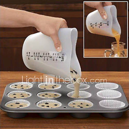 Heart Shape Silicone Measuring Cup  Cake Batter Dispenser With Measuring Label