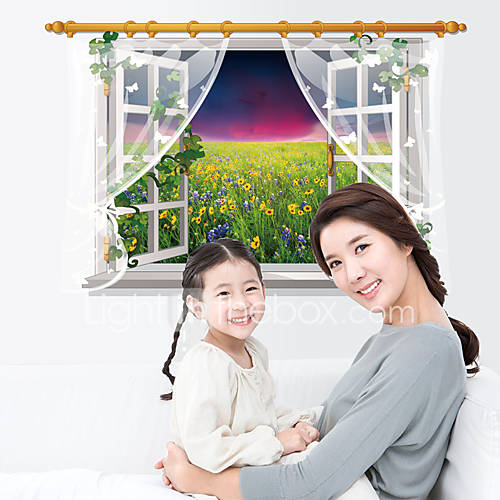 3D False Window Flowers Sea Landscape 3D Wall Stickers PVC Fashion Living Room Bedroom Wall Decals Home And Garden