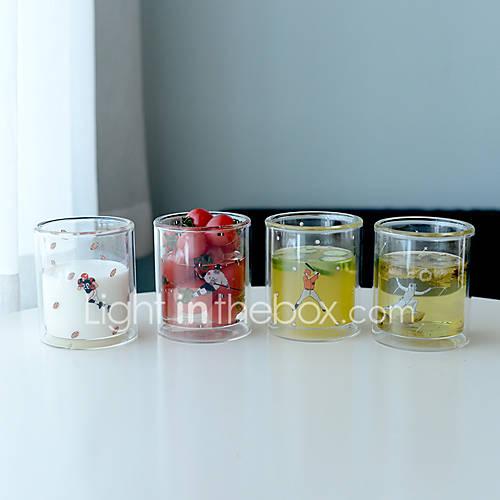 Transparent Cartoon Drinkware 310 ml BPA Free Double Wall Glass Tea Coffee Tea Cup