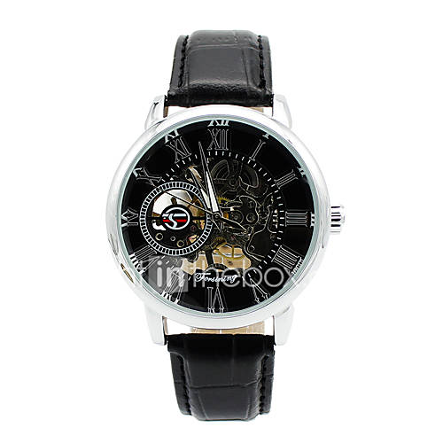 Men's Skeleton Watch Fashion Watch Mechanical Watch Quartz Leather Band Charm Casual Black Brown