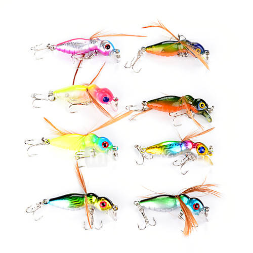 "8 pcs Flies Vibration/VIB Fishing Lures Flies Vibration/VIB Assorted Colors g/Ounce45 mm/1-3/4"" inchHard Plastic FeatherSea Fishing Fly"