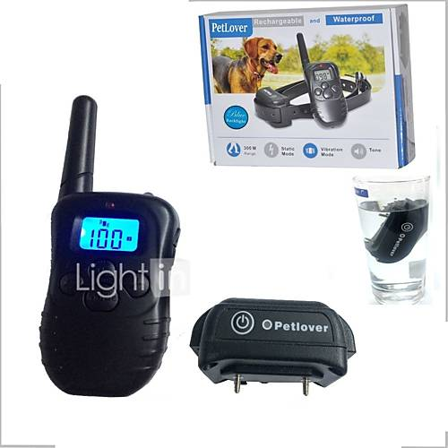 Pet Dog Training Collar Waterproof Rechargeable LCD Electronic Shock Remote Anti Bark Electric Collar Optional E998DB-1-BL-L