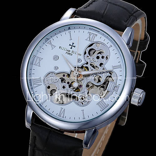 Men's Skeleton Watch Mechanical Watch Automatic self-winding Genuine Leather Band Black