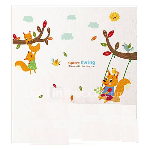 Tree Branches Wall Stickers Squirrel Swing Wall Decals Cartoon Animals Wall Sticker for Kids Room