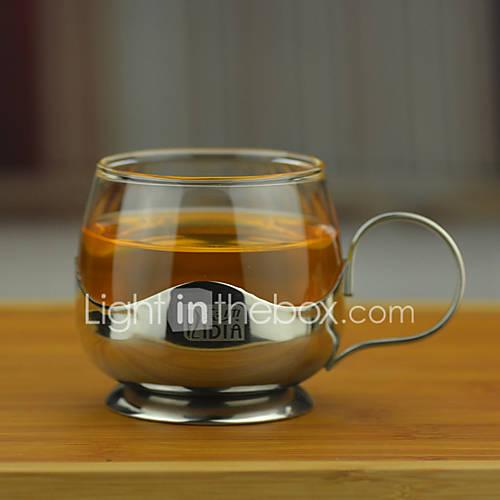 Transparent Drinkware 150 ml Decoration Heat-Insulated Stainless Steel Glass Juice Milk Coffee Mug