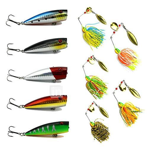 10 pcs Hard Bait Metal Bait Spinner Baits Popper Lure kits Buzzbait  Spinnerbait Lures Fishing LuresMetal Bait Hard Bait Buzzbait