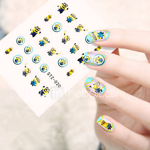 5pcs/set Fashion Lovely Cartoon Nail Art Sticker Cute Cartoon Small Yellow Dolls Design Happy Cartoon Nail Water Transfer Decals STZ-020