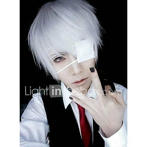 Cosplay Wigs Mask Tokyo Ghoul Ken Kaneki Silver Short Anime Cosplay Wigs 26 CM Male