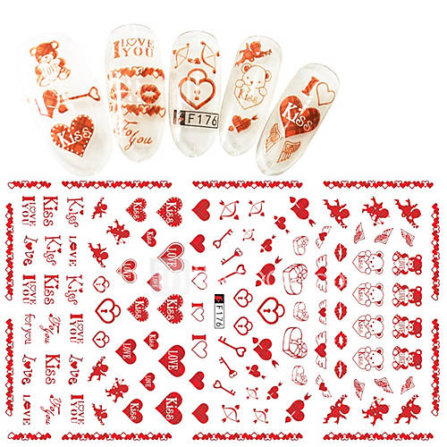 1pcs Fashion Romantic Style Nail Art 3D Stickers Creative Valentine's Day Lovely Love Design Sweet Creative Decoration F176