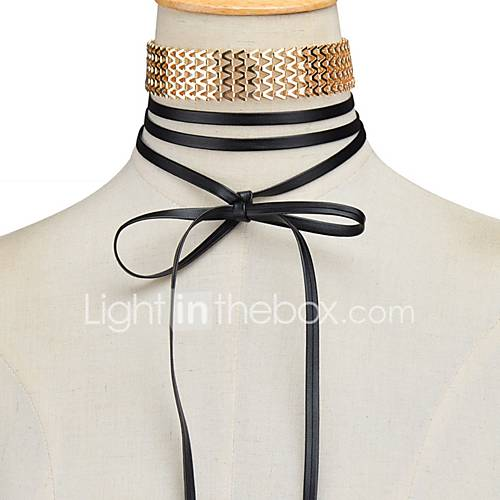 Women's Choker Necklaces Leather Alloy Euramerican Fashion Gold Jewelry For Party Daily 1 pc
