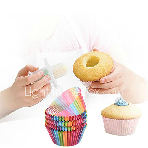 1Pcs  New Kitchen Cupcake Cake Corer Plunger Cutter Pastry Decorating Divider And  Rainbow Color 100 Pcs Cupcake Liner Baking Cup