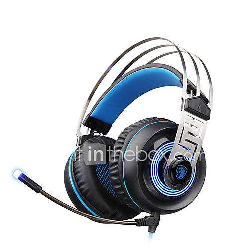 SADES A7 USB 7.1 Surround Sound Professional Stereo Gaming Headphone Blue Led Lighting Headsets with Microphone for Laptop PC