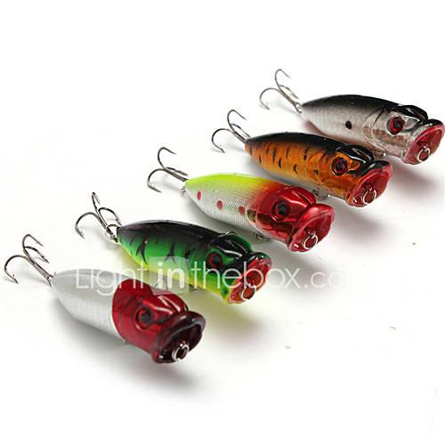 """5 pcs Hard Bait Popper Fishing Lures Hard Bait Popper Lure Packs phantom Multicolored g/Ounce mm/2-3/4"""" inchHard Plastic PlasticSea"""