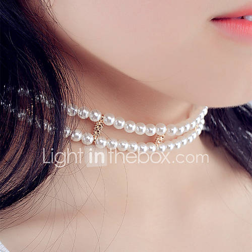 Women's Round Unique Design Choker Necklace Imitation Pearl Rhinestone Crystal Imitation Pearl Alloy Choker Necklace  Christmas Gifts