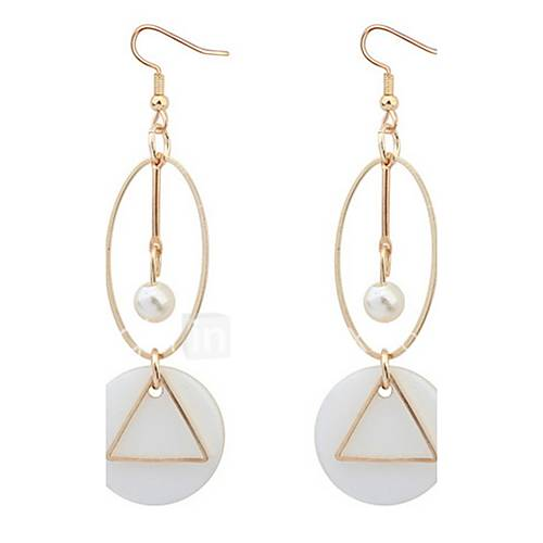 Euramerican Fashion Elegant Circle Triangle Cowry Lady Daily Pearl  Drop Earrings Movie Jewelry