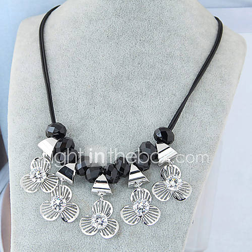 Women's Statement Necklaces Rhinestone Zircon Flower Alloy Euramerican Fashion Silver Jewelry 1pc