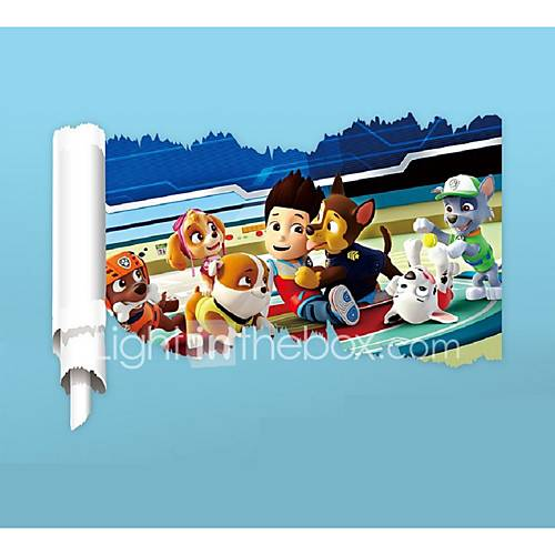 3D Reel Cartoon Dog Wall Stickers PVC Anime Movie Film Doggy Wall Decals Home Decoration Police Character Sticker for Kids Room