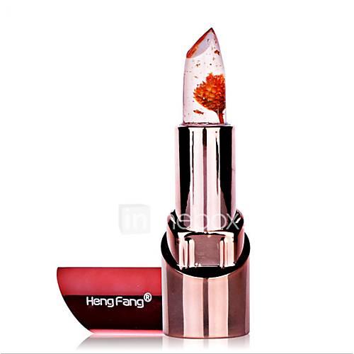 1Pcs Natural Flower Gold Foil Lipstick Temperature Changed Lip Balm Moisturizer Lips Makeup Crystal Jelly Lipstick 3 Colors