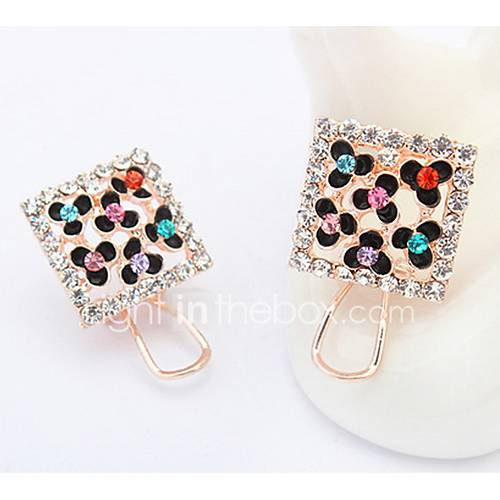 Stud Earrings Lady Girls' Euramerican Fashion Delicate Square Flower Rhinestone Party Daily Earrings Gift Movie Jewelry