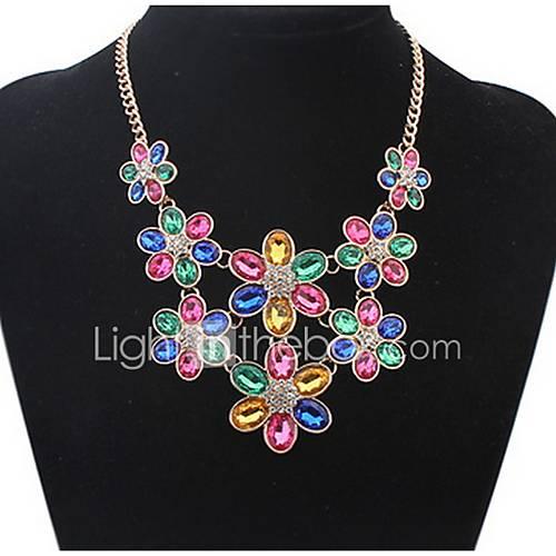 Euramerican Fashion  Multicolor Luxury Elegant  Big Flowers Necklace Lady Party Movie Jewelry