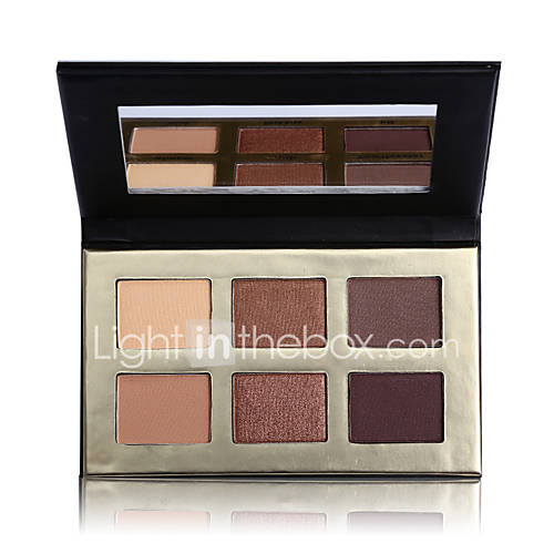 1Pcs/6 Color Matte Natural Eye Shadow Palette Naked Eyeshadow Nude Eyelid Waterproof Makeup With Mirror