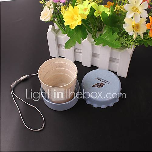 Plastic Portable Student Cute Daily Cup Vogue Outdoor Travel Wheat Straw Cup Telescopic Collapsible Portable Water Cup Ramdon Color