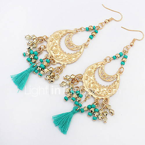 Euramerican Fashion Bohemian Elegant  Crescent Tassel Lady Casual  Earrings Movie Jewelry