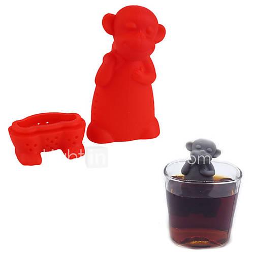 Silicone Monkey Tea Infuser Loose Leaf Herb Spiece Filter Tea Stainer Mug Cup Random Color
