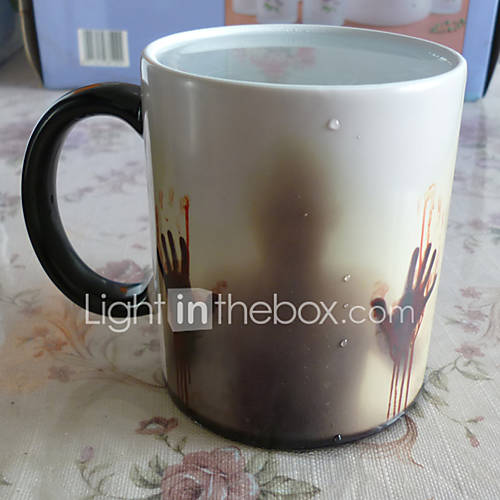 1C Newest Design Zombie Color Changing Coffee Mug Heat Senstive Magic Tea cup Mugs Walking Dead Bloody hands gift