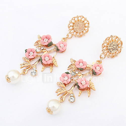 Euramerican Fashion Elegant Small And Pure And Fresh Flowers Pearl Rhinestone Earrings Lady Party Movie Jewelry